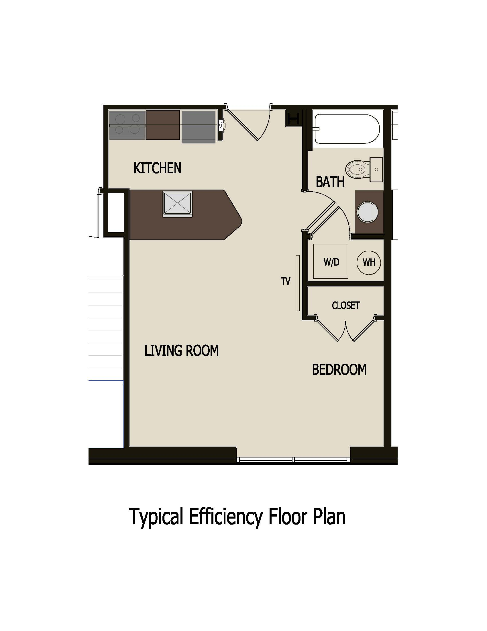 Marquis middle apartments studio apartment for Efficiency floor plans