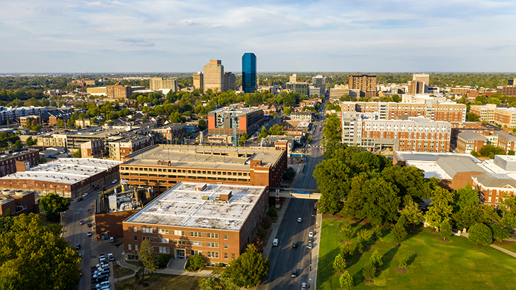 Aerial image of Downtown Lexington, Kentucky.
